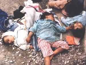 Immagine di bambini assassinati a Sabra e Shatila